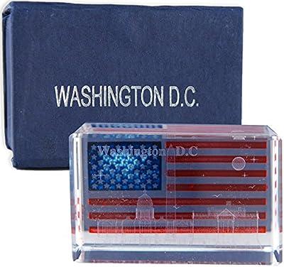 USA Flag, White House, US Capitol Washington Monument Rectangular Crystal Washington DC Souvenirs