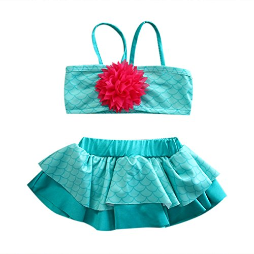 [Infants Newborn Baby Girls 2 Pcs Princess Ruffled Mermaid Bikini Set Swimsuit (12-24M, green)] (Cute Kiddie Costumes)