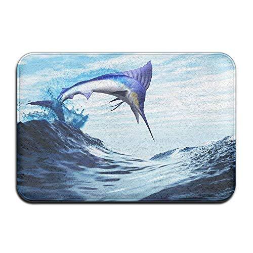 Blue Marlin Jump Wave Home Door Mat Super Absorbent Antislip Front Floor Mat,Soft Coral Memory Foam Carpet Bathroom Rubber Entrance Rugs for Indoor Outdoor