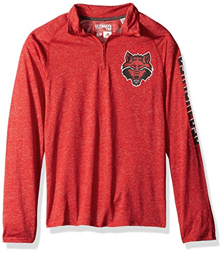 NCAA Arkansas State Red Wolves Adult Men White Noise Casual Ultimate 1/4 Zip Tee, Small, Power Red - Arkansas Men