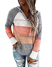 VECVOC Womens Sweaters Color Block Long Sleeve Drawstring Pullover Hoodies