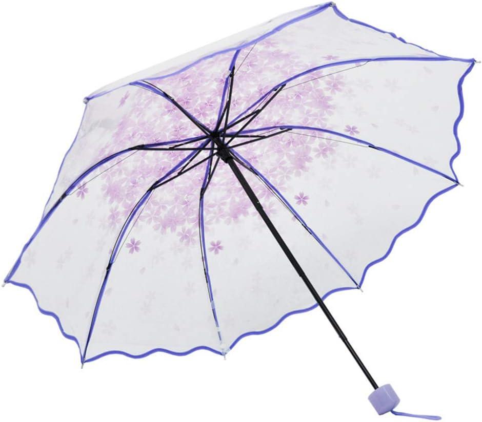 Comeyang Paraguas Compacto y a Prueba de Viento Que Abre y Cierra automáticamente el Paraguas Plegable,Paraguas Plegable Transparente Flor color3 91cm: Amazon.es: Hogar