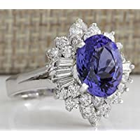 Saengthong Fashion 925 Silver Oval Cut Sapphire White Topz Ring Wedding Jewelry Size 6-10 (9)
