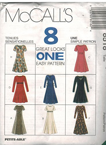 - 8518 Uncut Vintage McCalls Sewing Pattern Misses Semi Fitted Dress Princess Seams Size 10 12 14