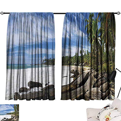 Decorative Curtains for Living Room Seaside Decor Collection Tropical Seashore on Sri Lanka with Palms Hanging over the Mighty Stones Washed by Sea Picture Breathability W55