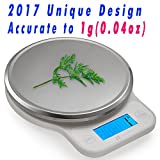 CICADA 11lb 5kg Digital Food Kitchen Scale,Accurate to 0.04oz -Stainless Steel Platform with Bright Blue Backlit 2