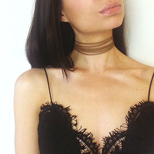 FXmimior Black Multilayer Straps Bound Punk Rock Choker Handmade Layered Bar Party Wedding Necklace Jewelry For Women