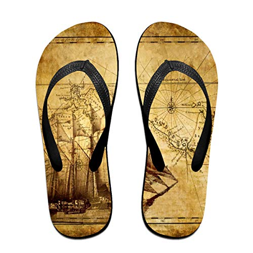 Flip-Flops Old Map and Sailing Ship Colorful Printing Open Toe Slim Beach Slippers for Men's Size:S