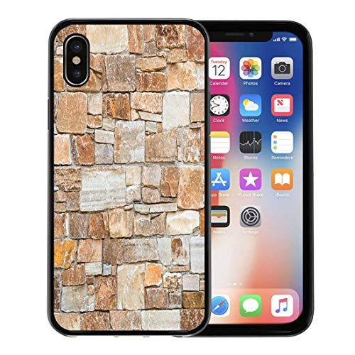 Semtomn Phone Case for Apple iPhone Xs case,Stone Wall of Natural Stones in Different Sizes Rustic Veneer Shades Brown and Beige Covering for iPhone X Case,Rubber Border Protective Case,Black ()