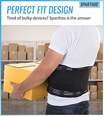 Back Support Belt by Sparthos - Relief for Back Pain, Herniated Disc, Sciatica, Scoliosis and more! – Breathable Mesh Design with Lumbar Pad – Adjustable Support Straps – Lower Back Brace [Size Small]