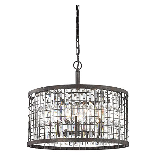 Elk Lighting Nadina 6 Light Crystal Chandelier in Silverdust Iron