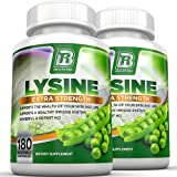 BRI Nutrition L-Lysine 180 Servings Per Bottle - Super 500mg Veggie Capsules, 2-Pack