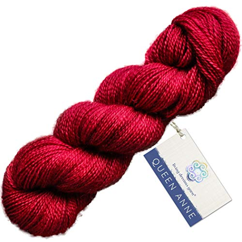 (Living Dreams Queen Anne LACE Yarn. Luxuriously Soft Baby Alpaca Silk USA Hand Dyed. Ruby Red)