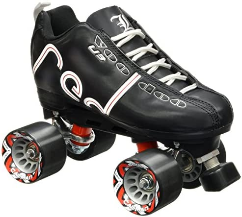 Labeda New Voodoo U3 Quad Roller Speed Skates Customized Black w Black Cayman Wheels