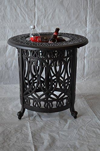 K B Patio Ld777h 21  Elizabeth Round Multi Purpose Table With Ice Bucket  21   Antique Bronze
