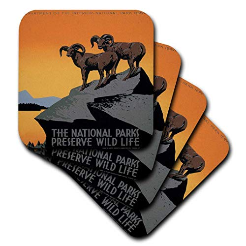 3dRose CST_171294_1 The National Parks Preserve Wild Life with Two Longhorn Sheep Soft Coasters, Set of 4 ()