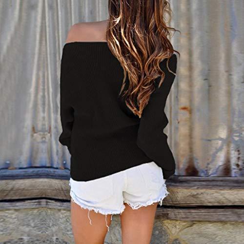 paule Longues Tops t Blouse Manches Femmes Jolie T 2018 Chandail Automne Solide Mode Hors Shirt Hiver Printemps Confortable Nouvelle Femme lgant Tricot Noir Mode B5RqwTnxZ