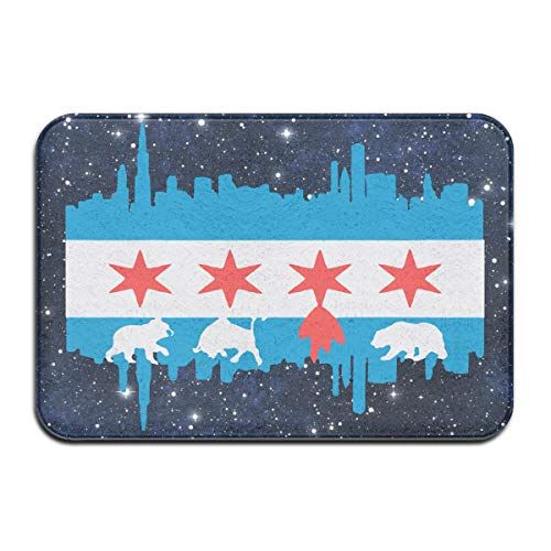 Youbah-01 Indoor/Outdoor Doormat with Chicago Flag Skyline Bear Graphic Pattern for Front Porch