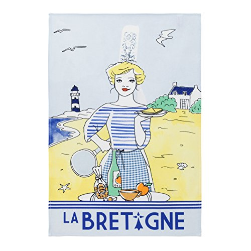 Coucke French Cotton Digitally Printed Towel French Collection, Beach Scene, 20-Inches by 30-Inches, Multi-colored