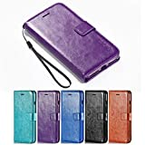 iPhone 8 Plus Case, iPhone 7 Plus Case, HLCT PU Leather Case, With Soft TPU Protective Bumper, Built-In Stand Kickstand, Cash And Card Pockets (Purple)