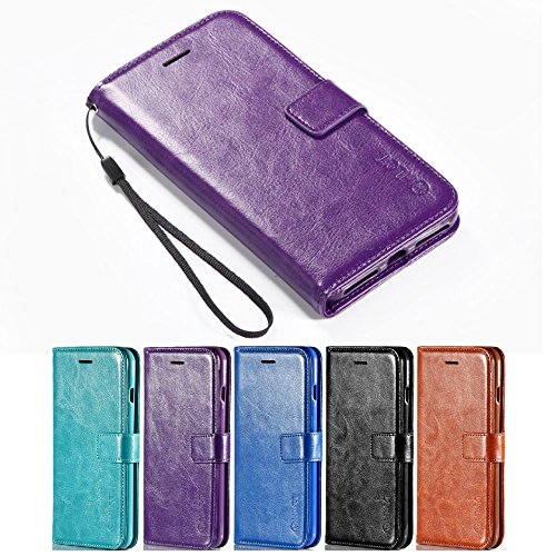 Price comparison product image iPhone 7 Plus Case,  HLCT PU Leather Case,  With Soft TPU Protective Bumper,  Built-In Kickstand,  Cash And Card Pockets,  For iPhone 7 Plus (Purple)