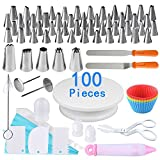 100 Pieces Cake Decorating Supplies Kit including 1 Piece Cake Turntable Stand and 53 Pieces Piping Tips Icing Bags Piping Nozzles Cake Making Tools for Beginners by AUSTOR