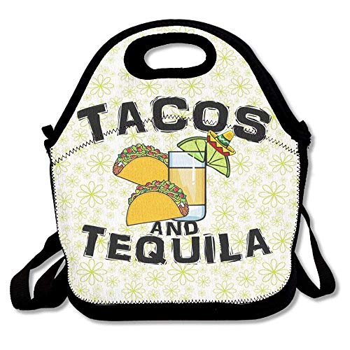 Taco Tequila Lunch Bag Large Reusable Lunch Tote Bags Women Teens Girls Kids Baby Adults Lunch Box Work Office School -