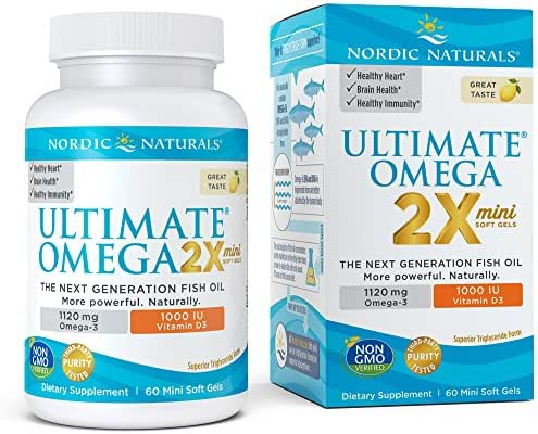 Ultimate Omega 2X Mini D3 - Nordic Naturals Omega-3 Supplement with Vitamin D3 Supports Heart, Brain, Immune and Bone Health, Lemon Flavor, 60 Count