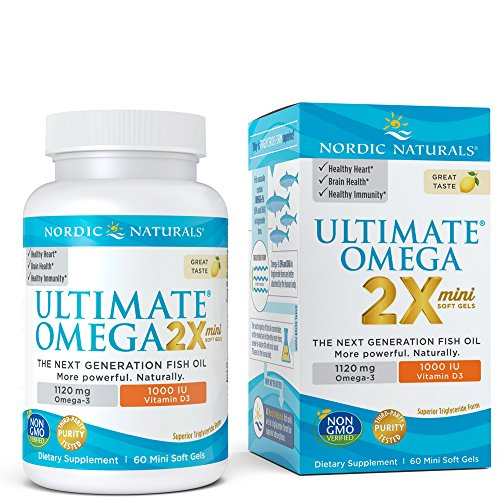 Ultimate Omega 2X Mini D3 - Nordic Naturals Omega-3 Supplement with Vitamin D3 Supports Heart, Brain, Immune and Bone Health, Lemon Flavor, 60 Soft Gels (Ultimate Omega 500 Strawberry)