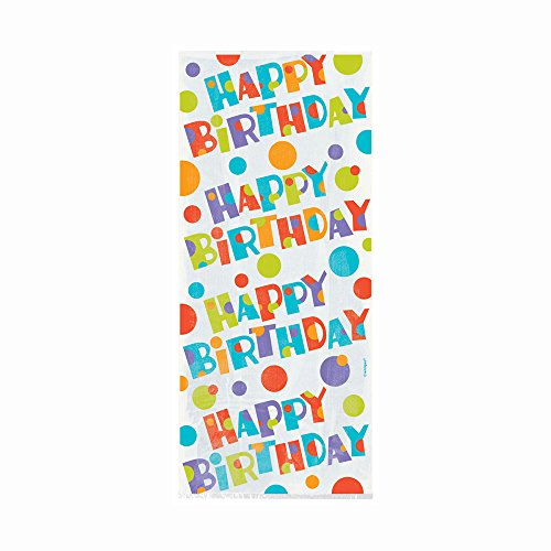 Bubbly Birthday Cellophane Bags, 20ct - Happy Birthday Cello Bags