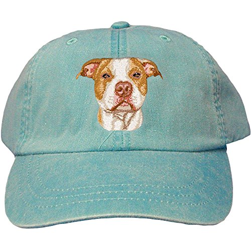 Cherrybrook Dog Breed Embroidered Adams Cotton Twill Caps - Caribbean Blue - American Pitbull Terrier