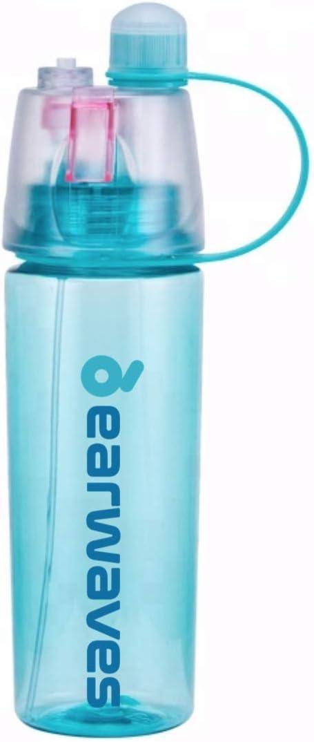 Earwaves ® Mist Spray Bottle - Botella de Agua de plástico Libre de BPA con Spray pulverizador. Ideal para Deporte, Fitness, Gimnasio, Padel, Tenis, Gym, etc. Capacidad: 600 mL