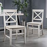Great Deal Furniture 303853 Truda Farmhouse Light Grey Finish Acacia Wood Dining Chairs, Wash