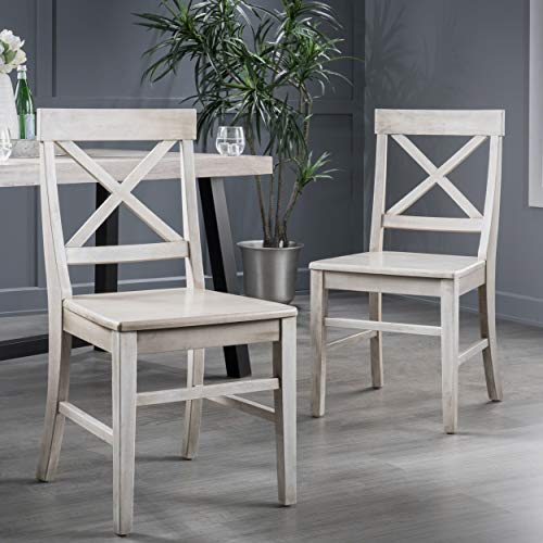 Christopher Knight Home Truda Farmhouse Finish Acacia Wood Dining Chairs, Light Grey Wash (Wood Dining Gray Chairs)