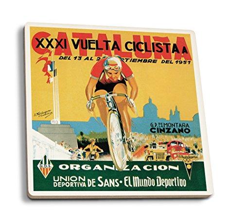 Lantern Press Bicycle Racing - Vintage Promotional Poster (Set of 4 Ceramic Coasters - Cork-Backed, Absorbent)