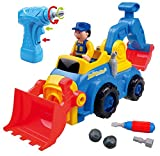 Take Apart Toys For Boys & Girls TG652 - Bump n Go Construction Vehicles, Trucks, Excavator (4 Models) & Electric Drill – Learning Toys For Toddlers 3, 4, 5 Years Old By ThinkGizmos