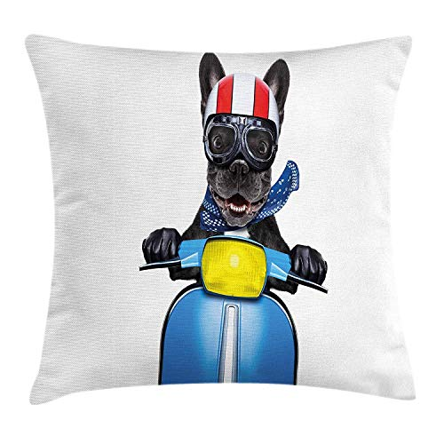 Pink Poodle Rocker - Uwwrticm Dog Driver Throw Pillow Cushion Cover, Quirky French Bulldog on a Scooter with Goggles Rocker Puppy, Decorative Square Accent Pillow Case 18x18 Inch Charcoal Grey Cobalt Blue
