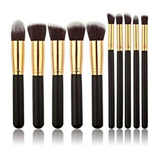 Hommii 10pcs Makeup Brush Set Premium Synthetic Kabuki Makeup Brush Set Cosmetics Foundation Blending Blush Eyeliner Face Powder Lip Brush Makeup