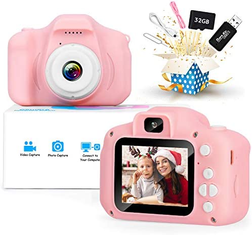 Kids Camera, Upgrade Digital Cameras with HD 1080P Video for three 4 5 6 7 8 Year Old Girls and Boys, Christmas Birthday Gifts Toy for Child, Dual Lens Camera with 32GB SD Card. (Pink)