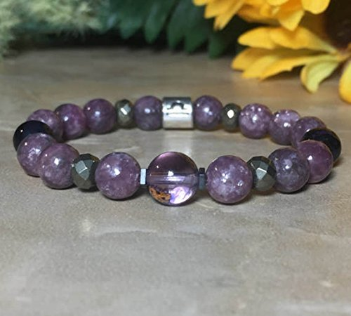 Womens Libra Zodiac Gemstone Bracelet, Ametrine Bracelet, Lepidolite Bracelet, Sugilite Bracelet, Relieves Stress, Astrology Bracelet, Gift For Her