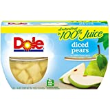 Dole Fruit Bowls, Diced Pears in Juice, 4 Cups (Pack of 6)