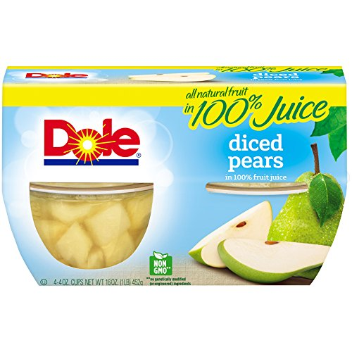 - Dole Fruit Bowls Diced Pears in 100% Fruit Juice, 4 Ounce (4 Cups), All Natural Diced Pears Packed in Fruit Juice, Naturally Gluten Free, Non-GMO, No Artificial Sweeteners