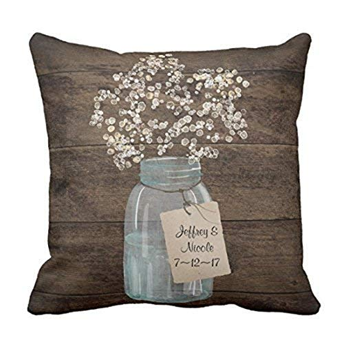 Rustic Barn Wedding (Suesoso Pillowcover 18 x 18 Inch Rustic Barn Wedding Wood Mason Jar Babys Breath Throw Pillow Cover Home)