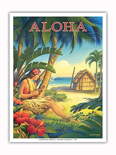 - Pacifica Island Art - Aloha - Hawaii - Hula Dancer with Ukulele - Vintage Hawaiian Travel Poster by Kerne Erickson - Master Art Print - 9in x 12in