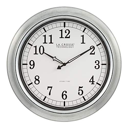 Wall Atomic Clock Outdoor - La Crosse Technology 404-1246-Int 18 in. Galvanized in/Out Atomic Clock, Silver