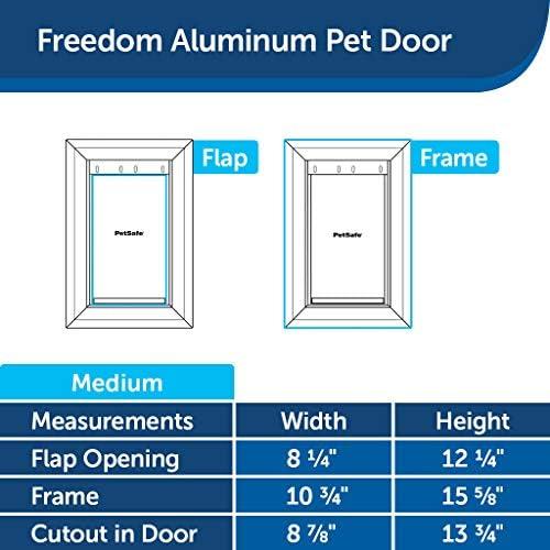 PetSafe Freedom Puerta de aluminio para mascotas para perros y gatos, color blanco, solapa de vinilo tintado, Blanco, Mediano 7