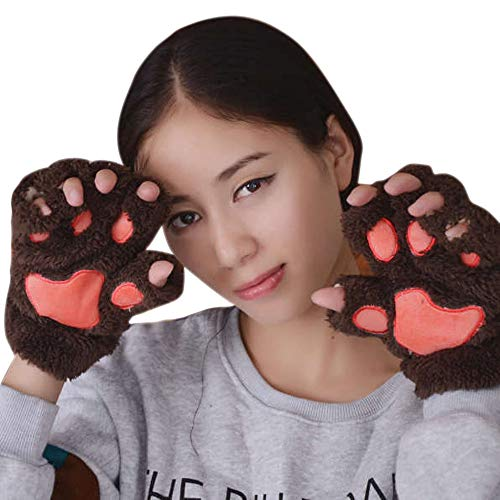 URIBAKE Women's Girls'Gloves Adorable Bear Paw Thick Half-finger Texting Fluffy Warm Novelty Gloves from URIBAKE