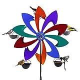 Exhart Ferris Feeder – Multicolor Pinwheel, Bird Feeder, Wheel Statue, Backyard/Outdoor / Garden
