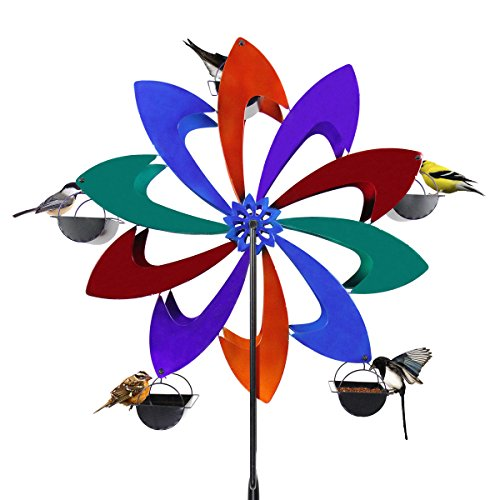Exhart Ferris Feeder – Multicolor Pinwheel, Bird Feeder, Wheel Statue, Backyard/Outdoor / Garden