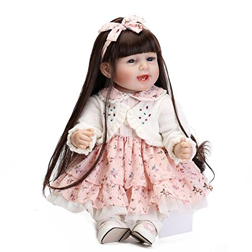 Funny House 22 55cm Realistic Soft Silicone Baby Long Hair Dolls Real Lifelike Doll Toddlers Valentines Day Xmas Gift Children Presents RBB Dolls